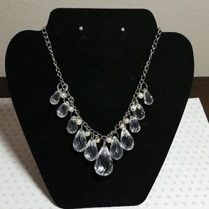 Pearl Crystal Drop Statement Necklace